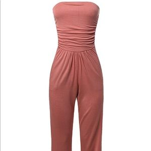 Relaxed fit, Tube top, Elastic waistband, wide leg